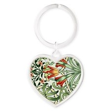 Vintage William Morris pattern, Woo Heart Keychain