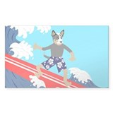 Australian Cattle Dog Longboard Surfer Stickers
