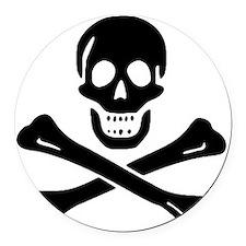 Black Sam Bellamy Jolly Roger:Pir Round Car Magnet