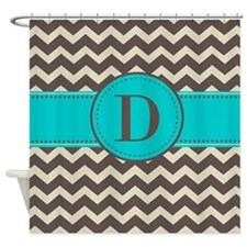 Brown Blue Monogram Shower Curtain