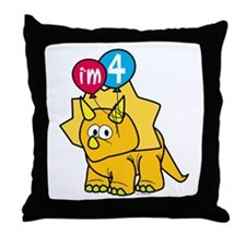 """I'm 4"" Dinosaur Throw Pillow"