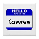 hello my name is camren  Tile Coaster