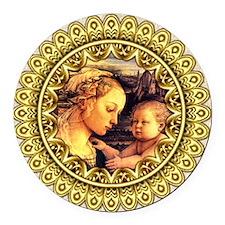 Virgin with Child Jesus by Lippi Round Car Magnet