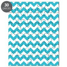 Aqua and White Chevron Pattern Puzzle