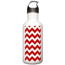 Red and White Chevron  Water Bottle