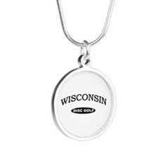 Wisconsin Disc Golf Silver Round Necklace