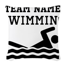 (Team Name) Swimming Woven Throw Pillow