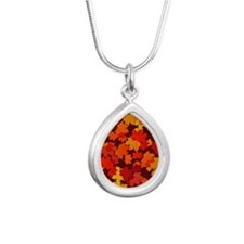 Autumn Leaves Silver Teardrop Necklace
