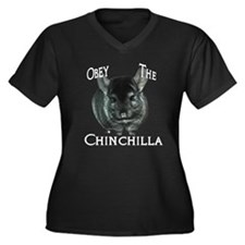 Chinchilla Obey Women's Plus Size V-Neck Dark T-Sh
