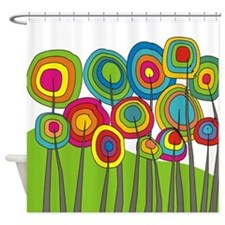 Funky Trees 10 Colorful Shower Curtain