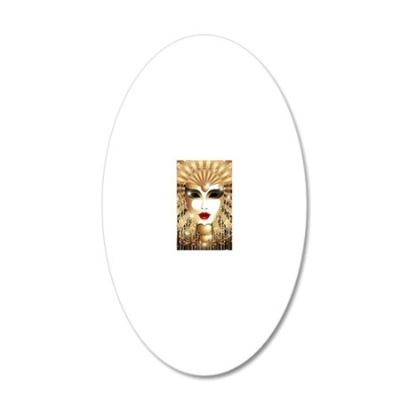 Golden Venice Carnival Mask 20x12 Oval Wall Decal