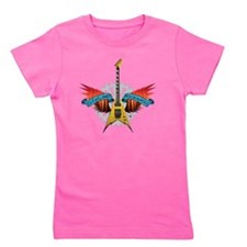 CLE-Guitar Fire Wings Girl's Tee