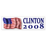 Clinton 2008 Flag Bumper Sticker