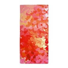 Pink Gold Confetti Hearts Beach Towel