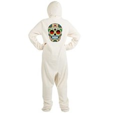 White Sugar Skull with Roses in Eye Sockets Footed Pajamas