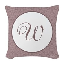 Plum Pudding Monogram Woven Throw Pillow