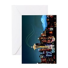 Seattle Skyline Sports Fan 12 Square Greeting Card
