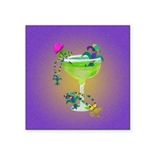 "mardi gras margarita Square Sticker 3"" x 3"""
