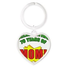 Celebrating Moms 70th Birthday Heart Keychain