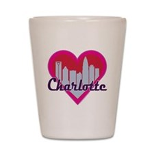 Charlotte Skyline Heart Shot Glass