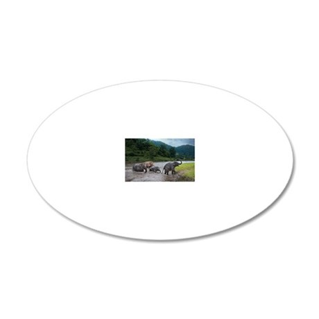 Traveling Family 20x12 Oval Wall Decal