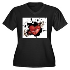 Red Broken Grunge Heart with Safety Pin Plus Size