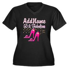 TERRIFIC 50TH Women's Plus Size V-Neck Dark T-Shir