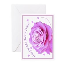 Mother's Day, Pink Rose Greeting Cards (Package of