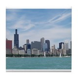 Cute Chicago downtown Tile Coaster