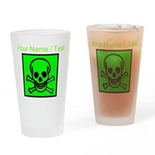 Custom Green Skull Sign Drinking Glass