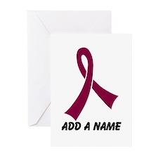 Personalized Burgundy Awareness Ribbon Greeting Ca