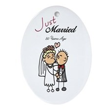Just Married 30 years ago Oval Ornament