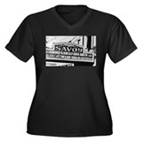 Savoy Marquee Women's Plus Size V-Neck Dark T-Shir
