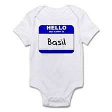 hello my name is basil  Infant Bodysuit