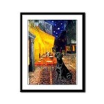 Cafe & Black Lab Framed Panel Print