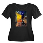 Cafe & Black Lab Women's Plus Size Scoop Neck Dark