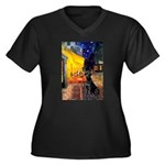 Cafe & Black Lab Women's Plus Size V-Neck Dark T-S
