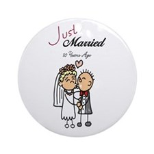 Just Married 10 years ago Ornament (Round)