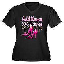 60TH PINK SHOES Women's Plus Size V-Neck Dark T-Sh