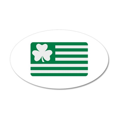 Irish Shamrock flag 35x21 Oval Wall Decal