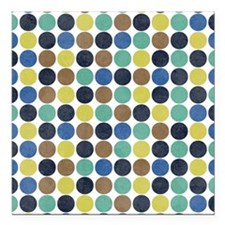 Peacock Hues Polka Dot Pattern Square Car Magnet 3