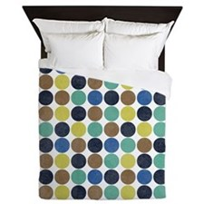 Peacock Hues Polka Dot Pattern Queen Duvet