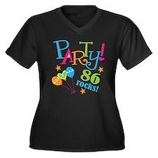 86th Birthday Party Women's Plus Size V-Neck Dark