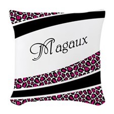 Pink Leopard Personalized Woven Throw Pillow