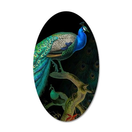 Vintage Peacock 35x21 Oval Wall Decal