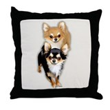 Chihuahua long Coat Duo Throw Pillow