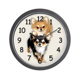 Chihuahua Long Coat Duo Wall Clock