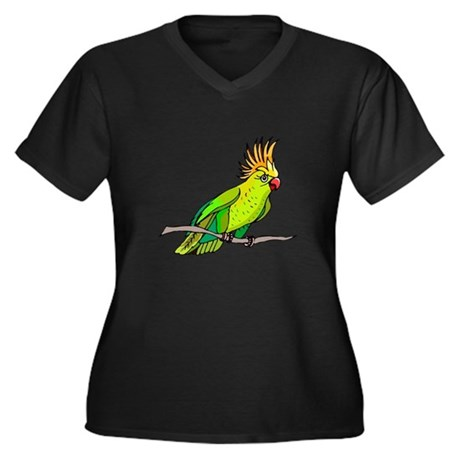 Cockatoo Women's Plus Size V-Neck Dark T-Shirt