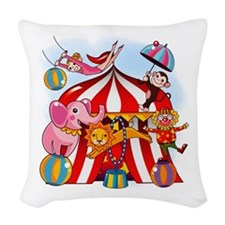 The Circus is in Town Woven Throw Pillow