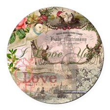 Marriage Collage Vintage Wedding Floral Round Car
